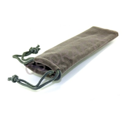 Velvet Draw String Pen Pouch - Grey
