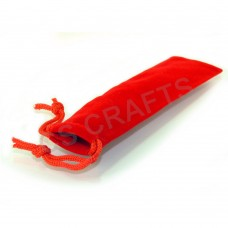 Velvet Draw String Pen Pouch - Red