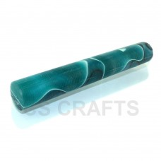 Acrylic Pen Blank 19mm Turquoise with White & Black Line