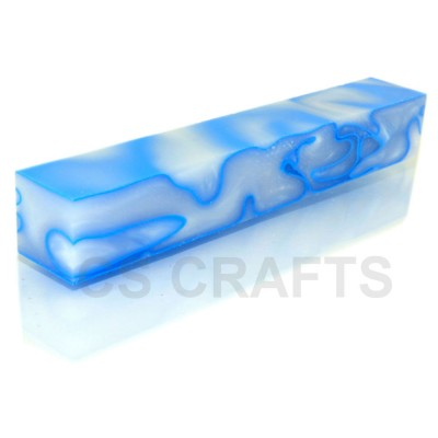 Acrylic Pen Blank White with Light Blue