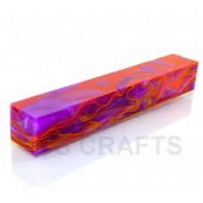 Acrylic Pen Blank Purple with Yellow/Orange