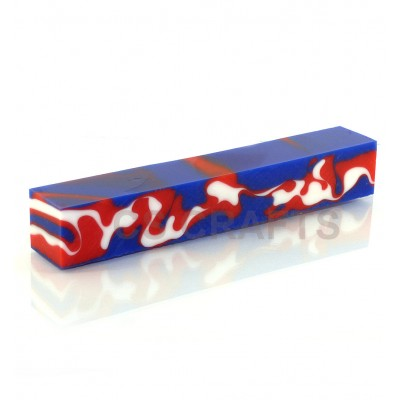 Acrylic Pen Blank, Red, White and Blue Camouflage