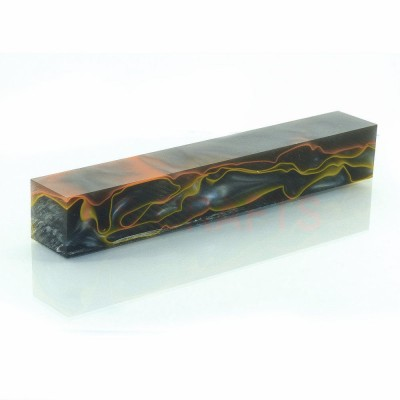 Acrylic Pen Blank Black with Orange/Yellow Line