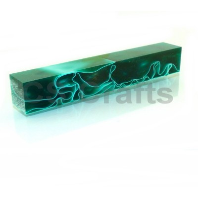 Acrylic Pen Blank Dark Green with White Line