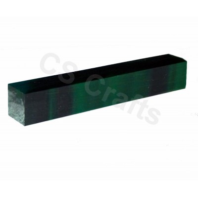 Acrylic Pen Blank 20mm Dark Green & Black Line