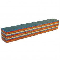 Layered Coloured Wood Blank - Blue, Red, Orange, Cream and Brown