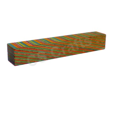 Layered Coloured Wood Blank - Red, Orange, Blue, Green and Purple