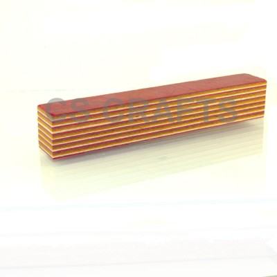 Layered Coloured Wood Blank - Red, White, Yellow, Coffee