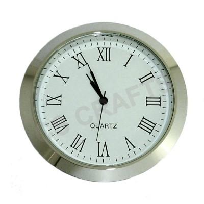 55mm Clock Insert - Silver Bezel - Roman numerals