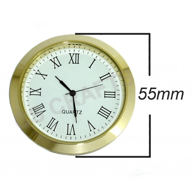 Clock Insert 55mm Gold Bezel Roman Numerals White Dial