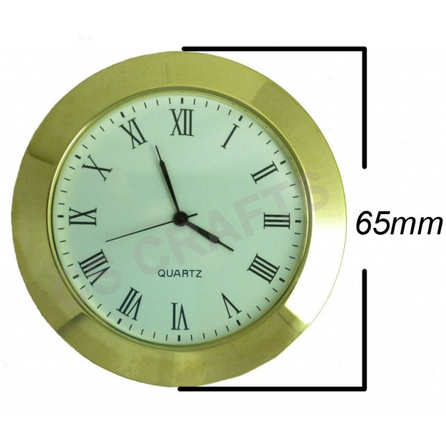Clock Insert 65mm Gold Bezel Roman Numerals White Dial
