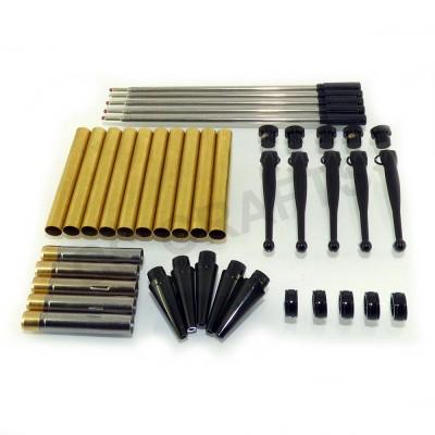 Black Chrome Fancy Pen Kits, Pack of 5