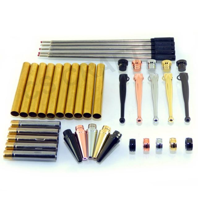 Pack of 5 Slimline Pen Fancy Rifle Clips in Gold 1