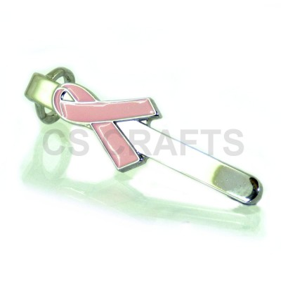 Pink Ribbon Pen Clip - chrome finish